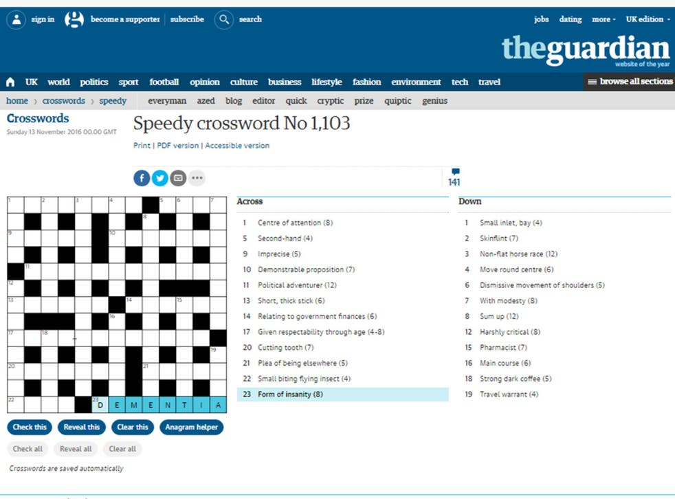 The crossword has been criticised by the Alzheimer Society