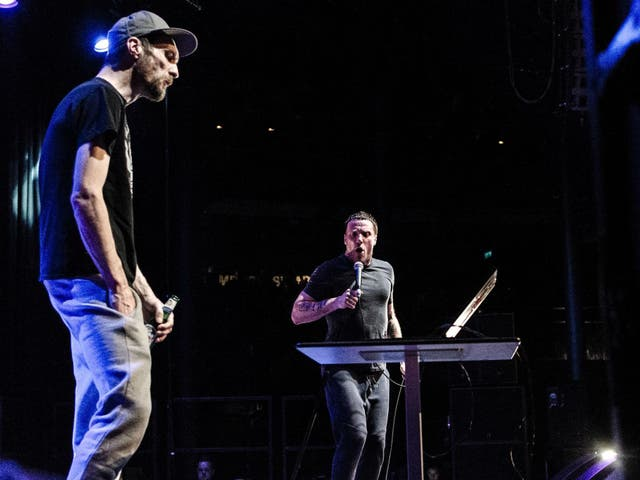 Andrew Fearn (left) and Jason Williamson of Sleaford Mods perform at London's Roundhouse