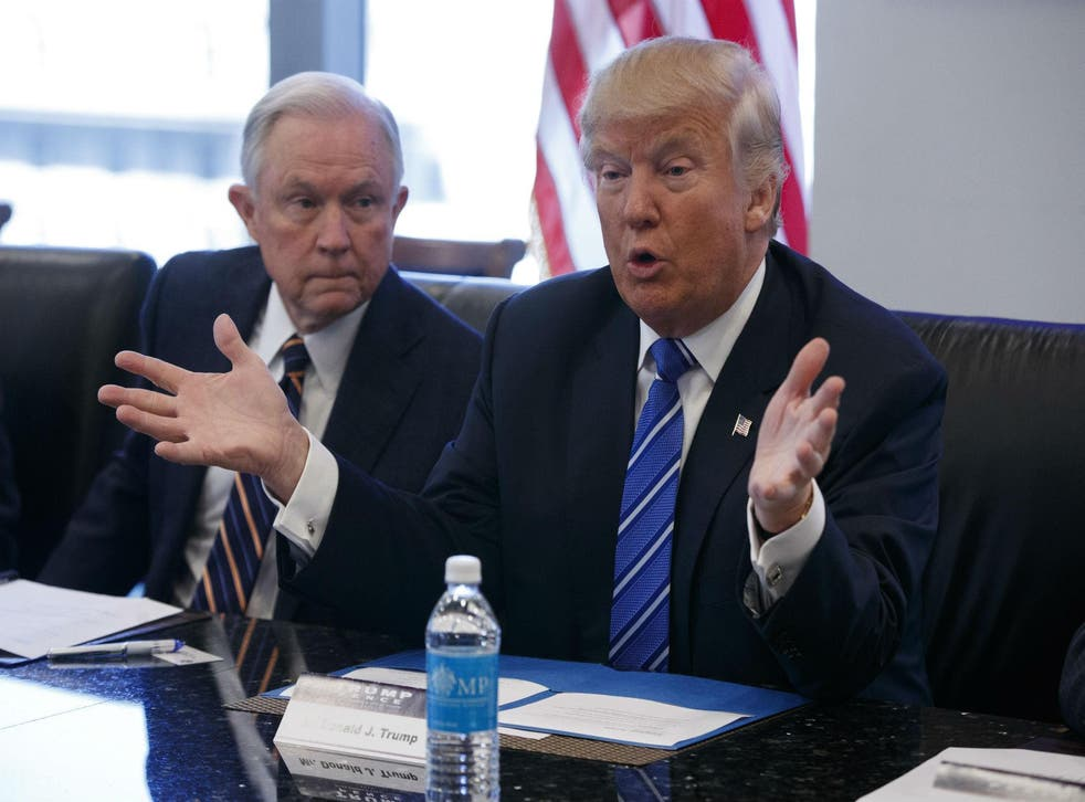 Donald Trump's Attorney General Jeff Sessions, left, has been a long time opponent of gay rights