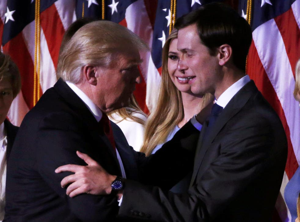 U.S. President-elect Donald Trump greets his daughter Ivanka and son in law Jared Kushner (R) at his election night rally in Manhattan, New York