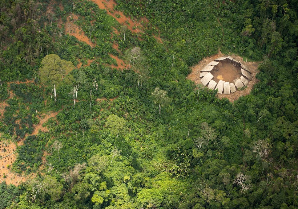 An uncontacted Yanomami settlement in northern Brazil