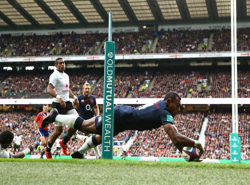 Semesa Rokoduguni scores England's third try against Fiji