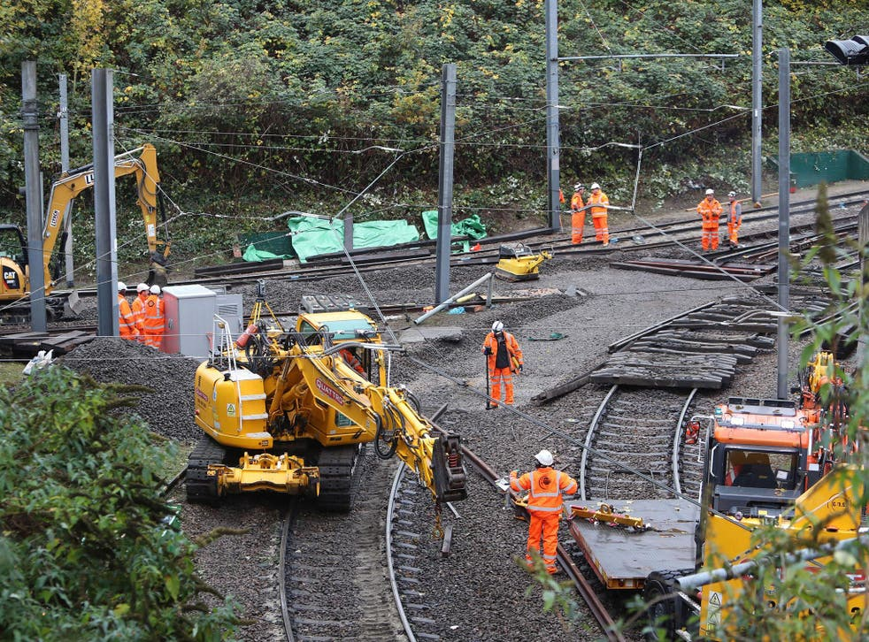 Repair work on the section of track where a tram crashed, killing seven people, in Croydon, south London