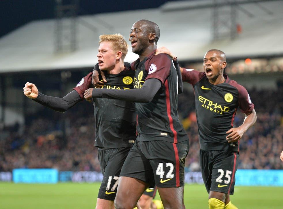 Toure celebrates restoring City's lead with De Bruyne