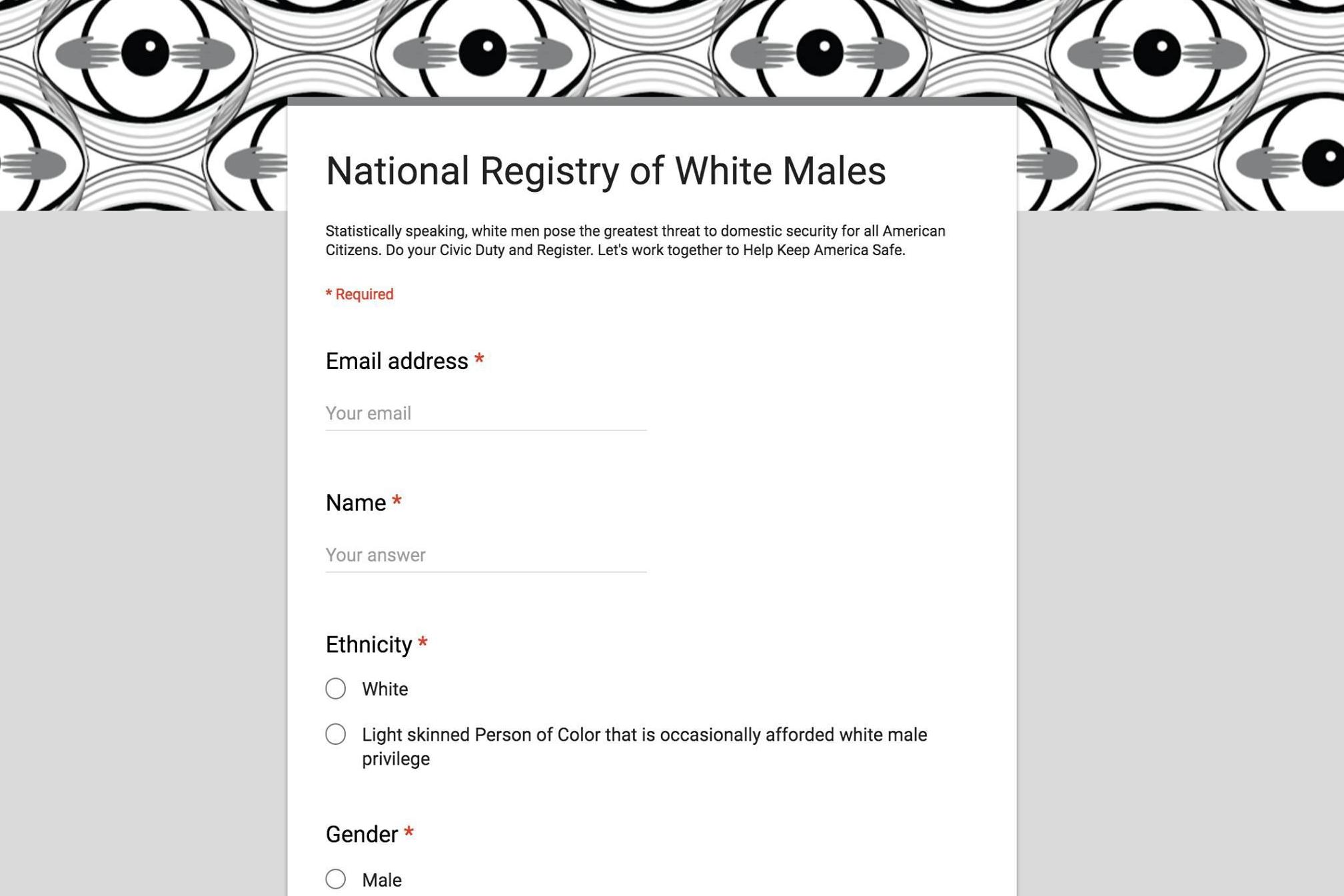 1a08e590303b Someone created a National Registry of White Males for until we figure out  what s going on