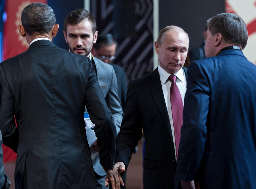 Barack Obama And Vladimir Putin Share Cold Awkward Handshake At Global Summit The Independent The Independent