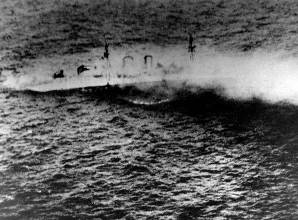 The Royal Navy heavy cruiser HMS Exeter, which sank during an operation in the Java Sea on 1 March 1942