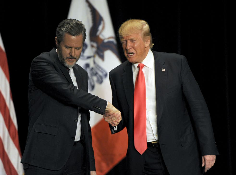 Jerry Falwell campaigned with Mr Trump in Davenport, Iowa, in January 2016