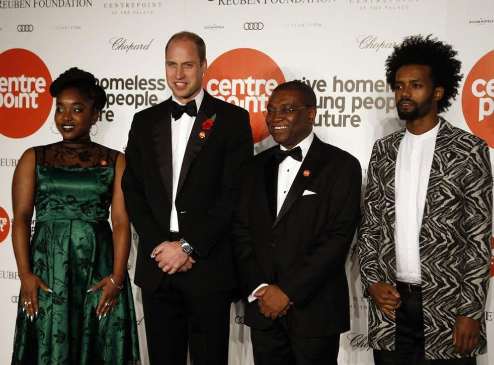 Prince William and (second right) Centrepoint CEO Seyi Obakin attend Centrepoint at the Palace, a fundraising event in the grounds of Kensington Palace