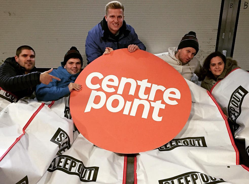 Volunteers take part in the Manchester sleep out