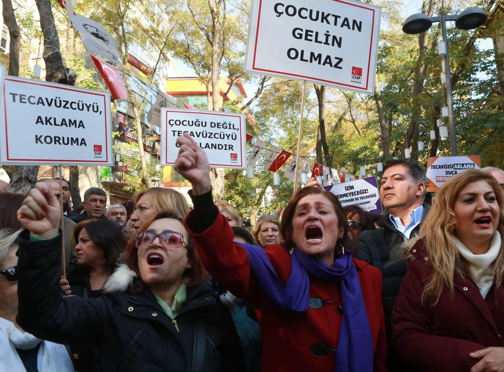 Protesters took to the streets in cities across Turkey, holding placards saying: 'Rape cannot be pardoned'