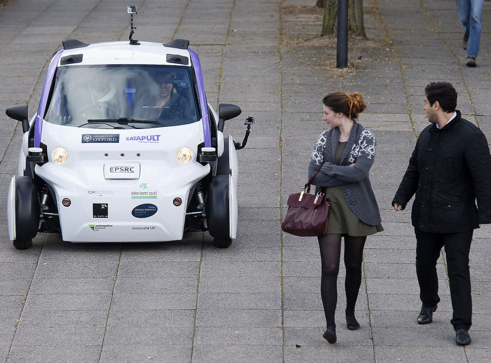 A driverless car is tested in Milton Keynes last year