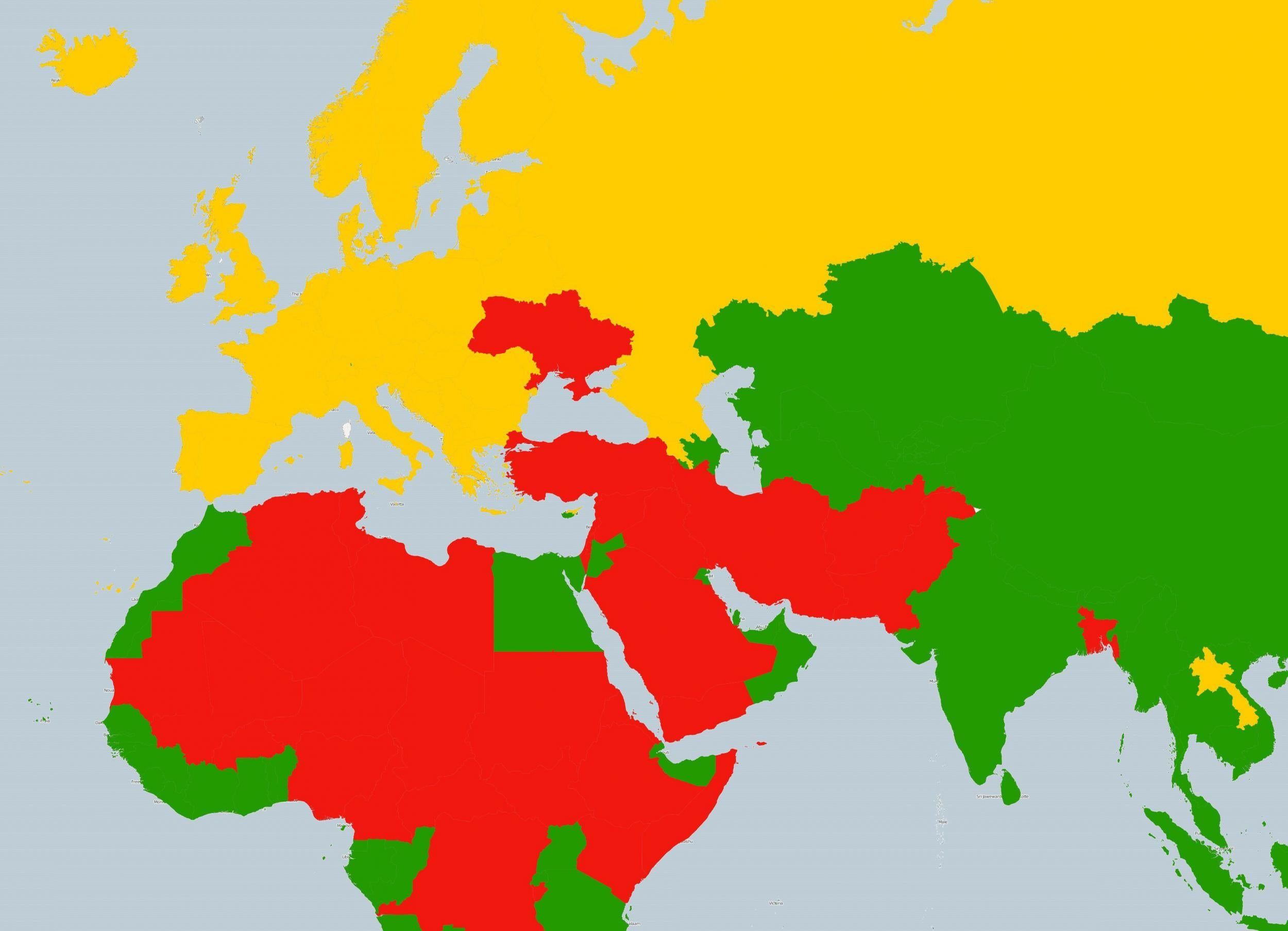 A Map Of Countries The Us Government Thinks It Is Safe To Go On - Map-of-us-countries