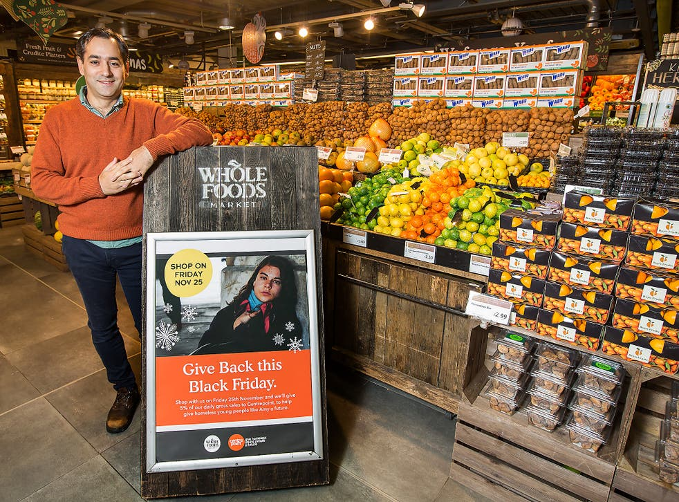 Diego Hvozda, of Whole Foods Market Piccadilly, one of seven stores in the chain that will donate 5 per cent of Friday's gross sales to the appeal