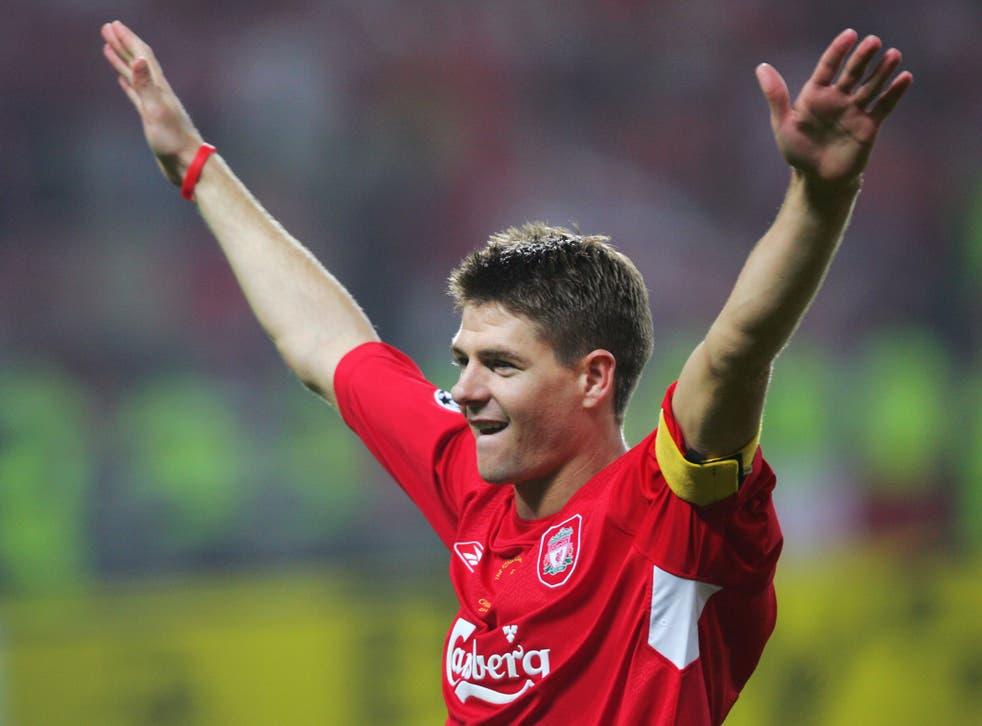 Gerrard celebrates Liverpool's historic Champions League win in 2005