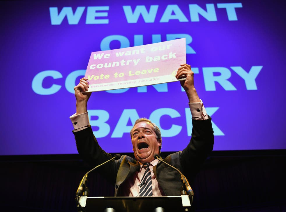 UKIP Leader Nigel Farage MEP speaks at the final 'We Want Our Country Back' public meeting of the EU Referendum campaign on June 20, 2016