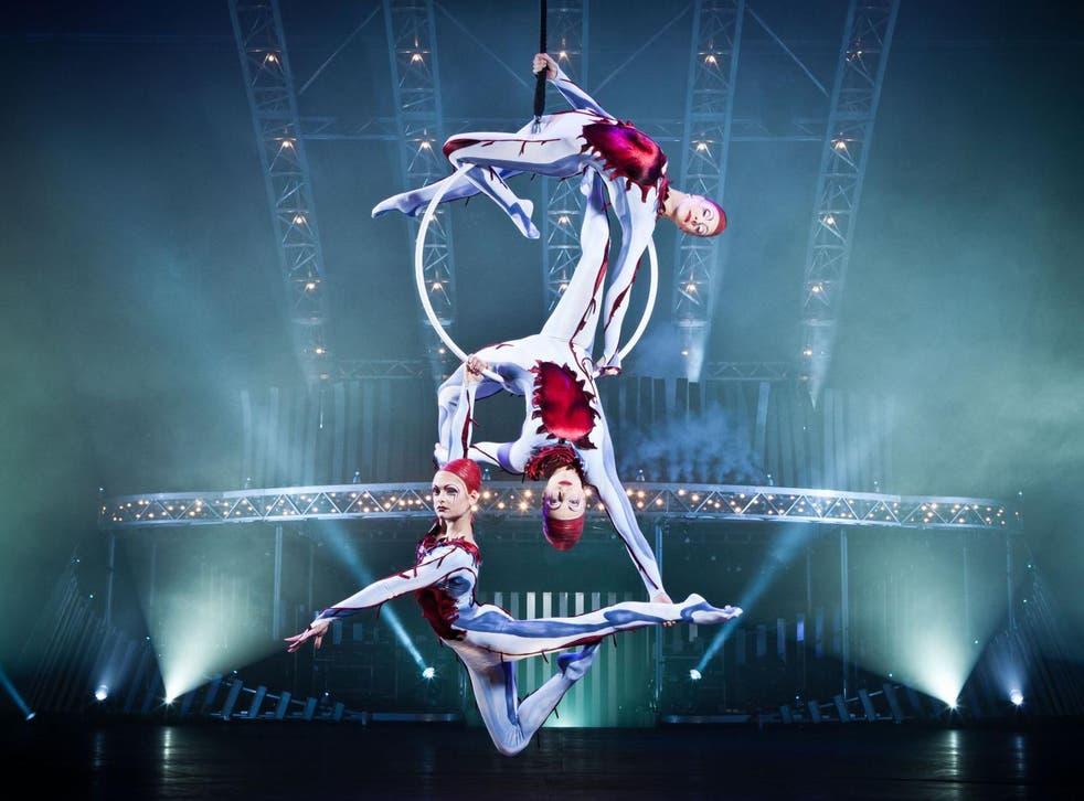 Lisa Skinner, bottom, has years of experience performing circus stunts