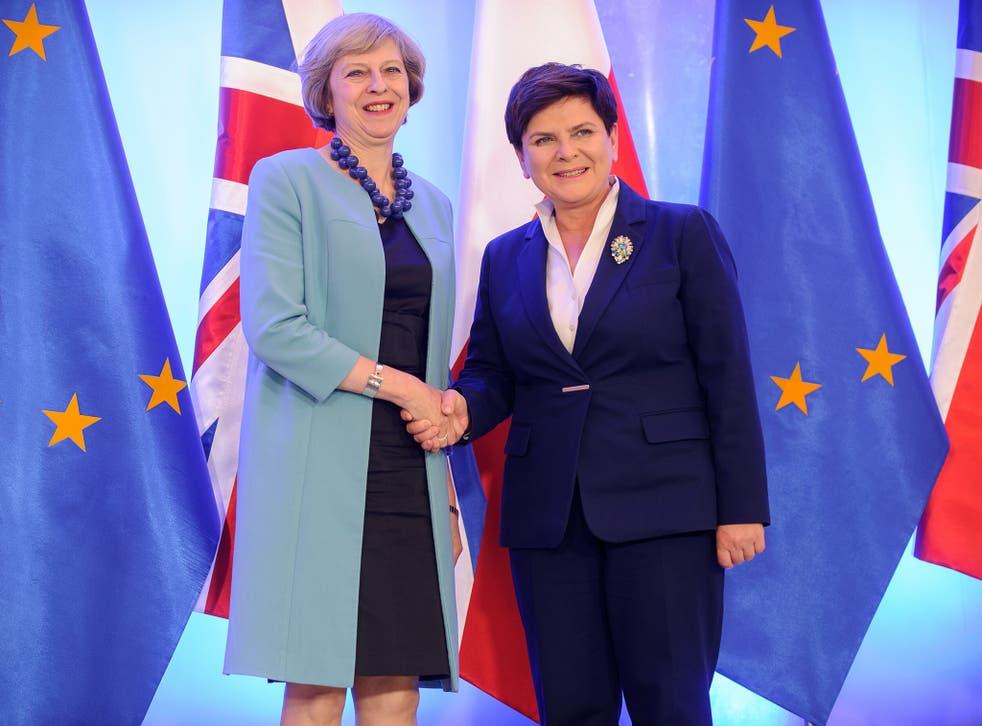 British Prime Minister Theresa May and Polish Prime Minister Beata Szydlo