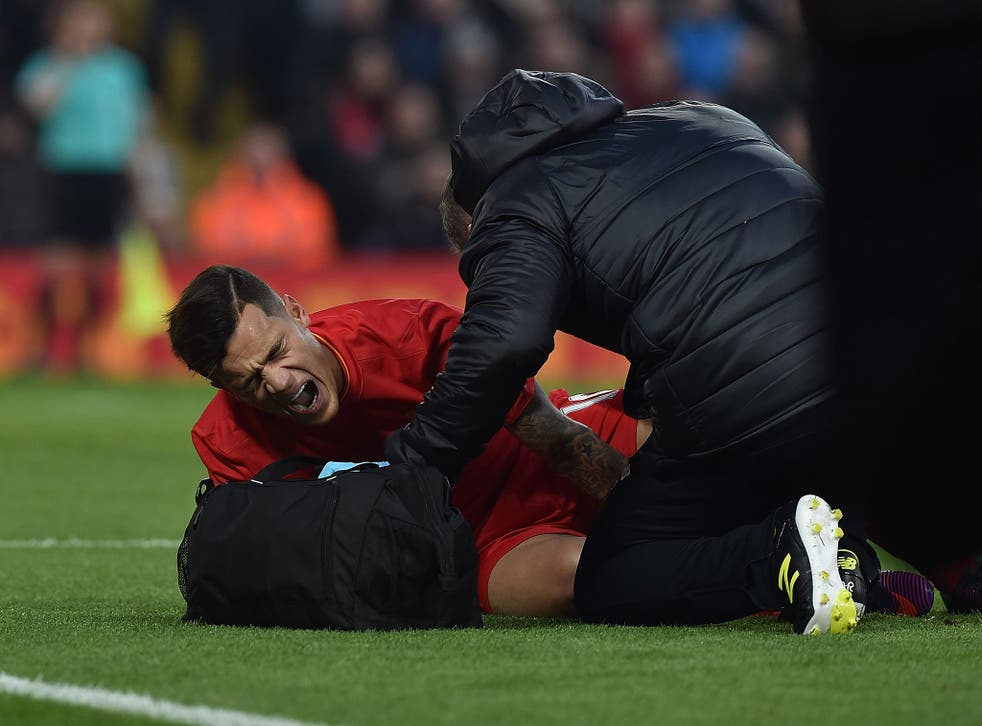 Coutinho had to be stretched off following his clash with Sunderland's Didier Ndong
