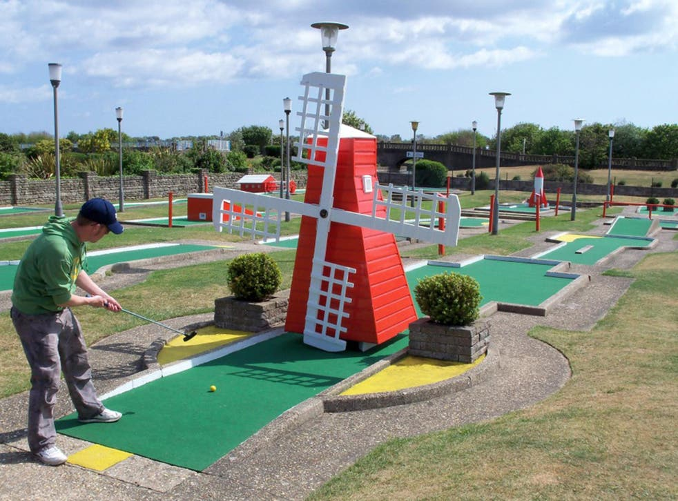 Richard Gottfried plays on the Arnold Palmer Crazy Golf course in Skegness