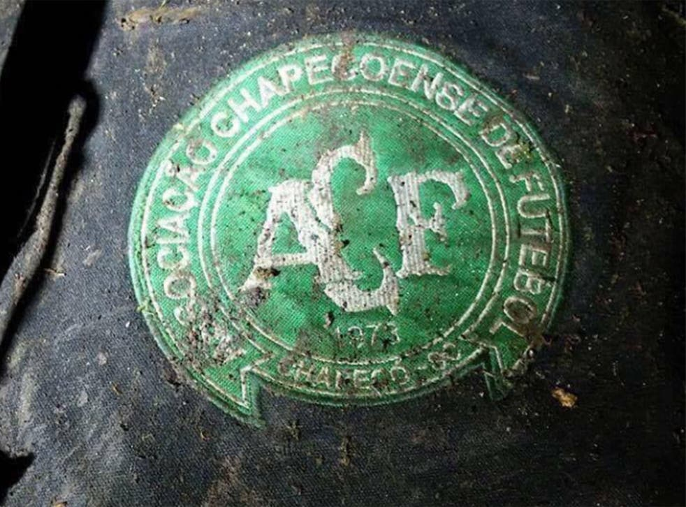 A Chapecoense badge reportedly found at the crash site