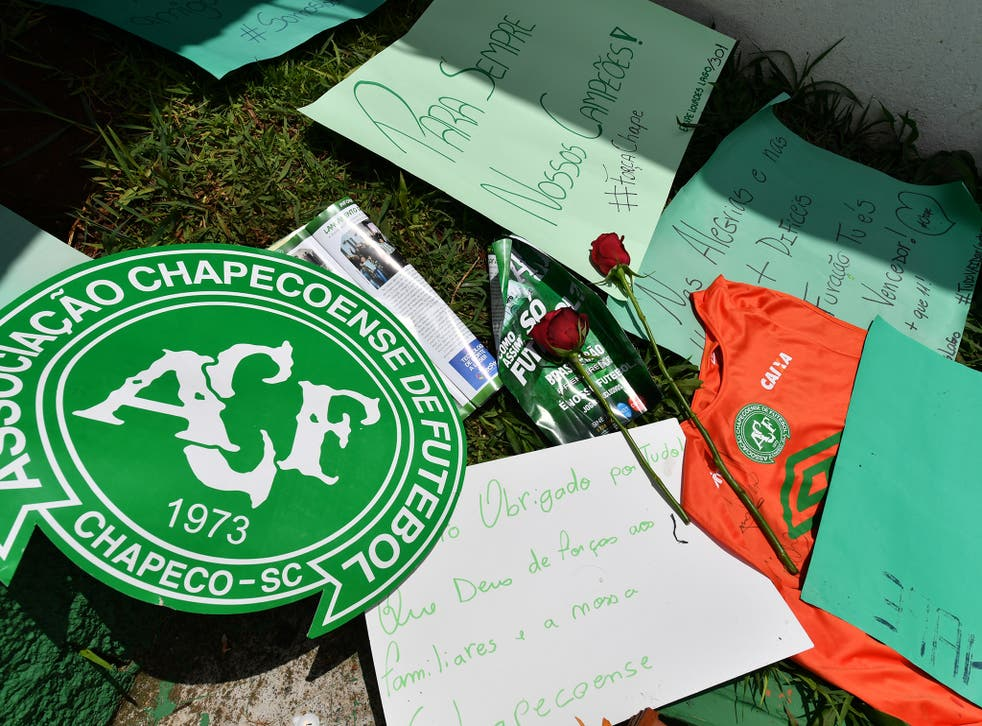 Flowers and condolences laid at Chapecoense's home ground
