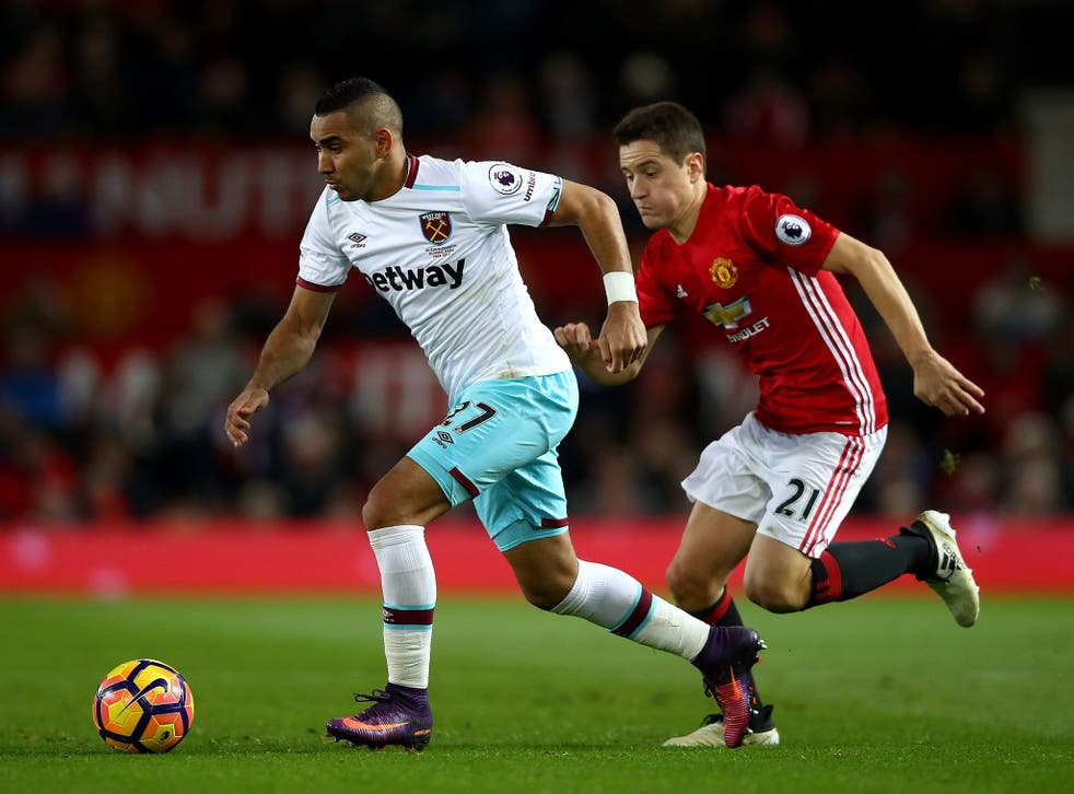 Dimitri Payet looks to get away from Ander Herrera during last Sunday's clash between United and West Ham at Old Trafford
