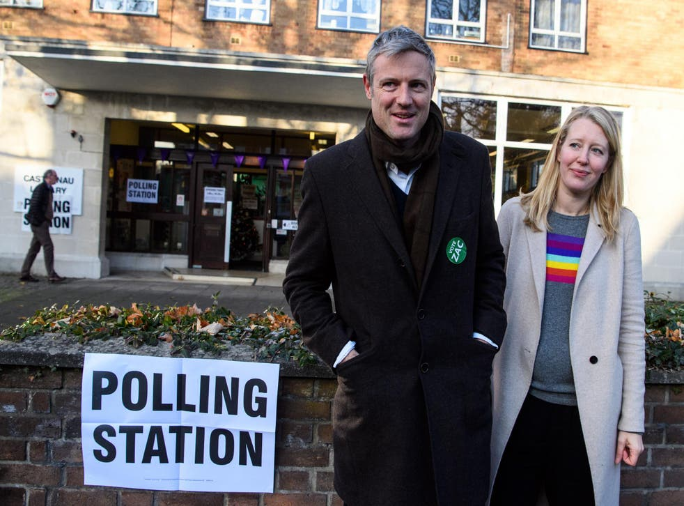 Independent candidate Zac Goldsmith and his wife Alice Rothschild leave after casting their votes in the Richmond Park by-election