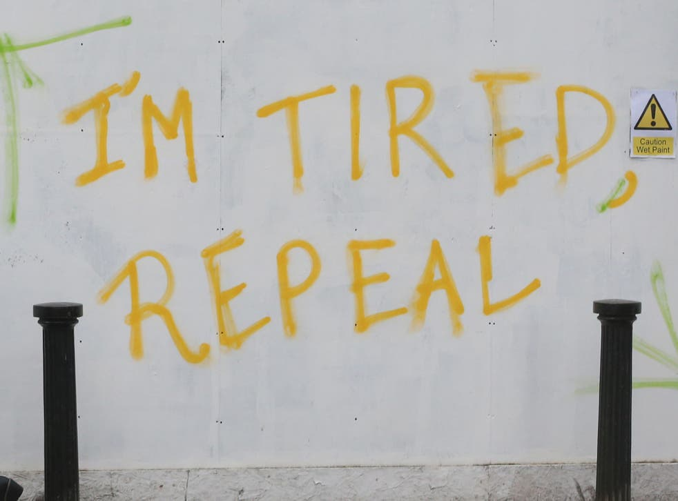 Graffiti on Pearse Street in Dublin, calling for a referendum to repeal the 8th Amendment of the Constitution of Ireland