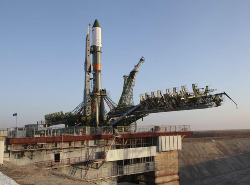The Soyuz rocket carrying the Progress capsule, sitting on the launch pad before taken in Baiknour, Kazakstan