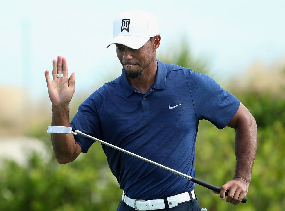 Woods started the competition on his own after Justin Rose pulled out