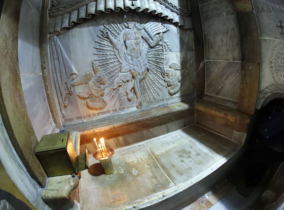 The tomb where Jesus's body is believed to have been laid, inside the Edicule in the Church of the Holy Sepulchre, Jerusalem