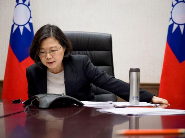 Taiwan's President Tsai Ing-wen speaks on the phone with U.S. President-elect Donald Trump
