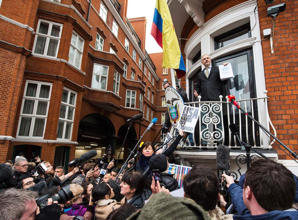 Julian Assange addresses the media from the balcony of Ecuador's UK embassy