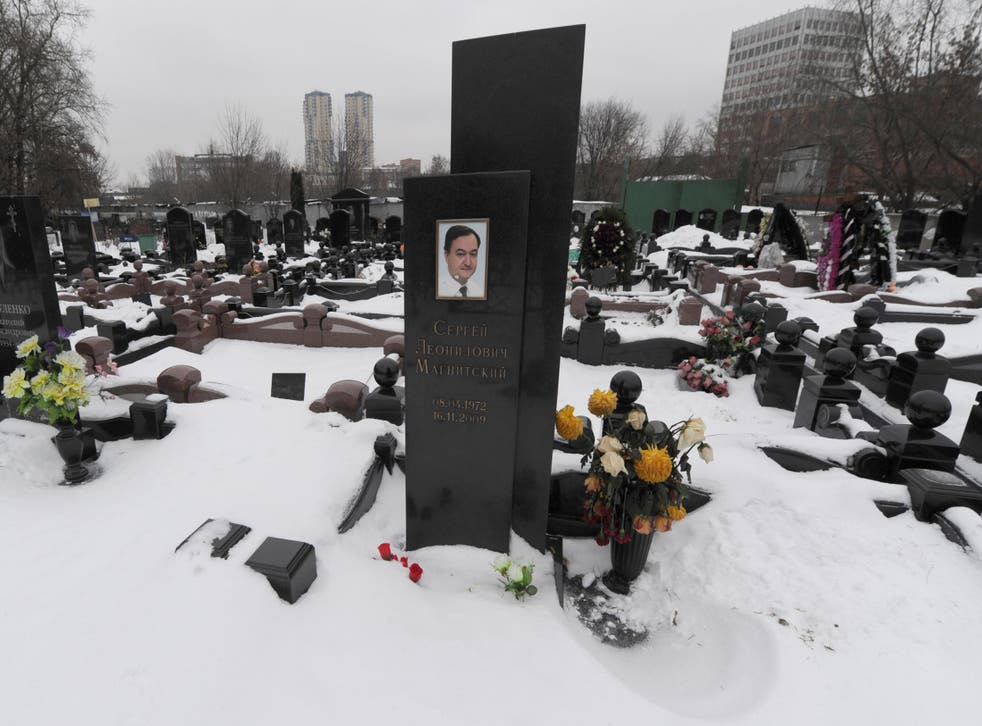 The grave of lawyer Sergei Magnitsky who died after exposing Russian corruption