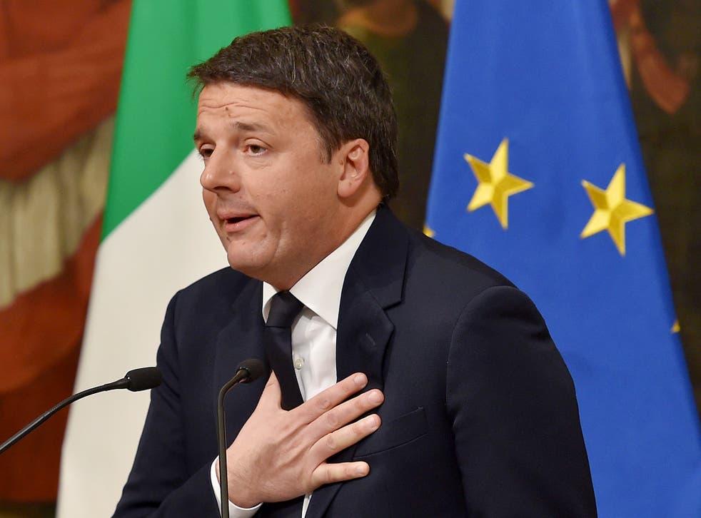 Italy's Prime Minister Matteo Renzi announces his resignation