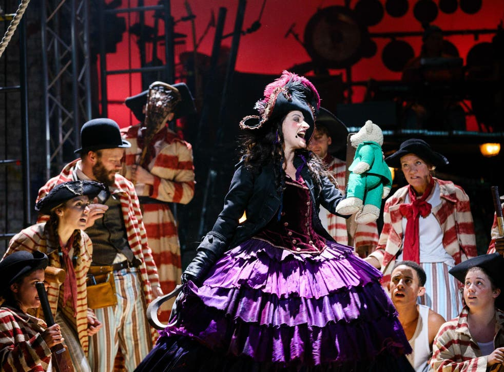 Anna Francolini as Captain Hook is a magnificently frightening and pathetic crone