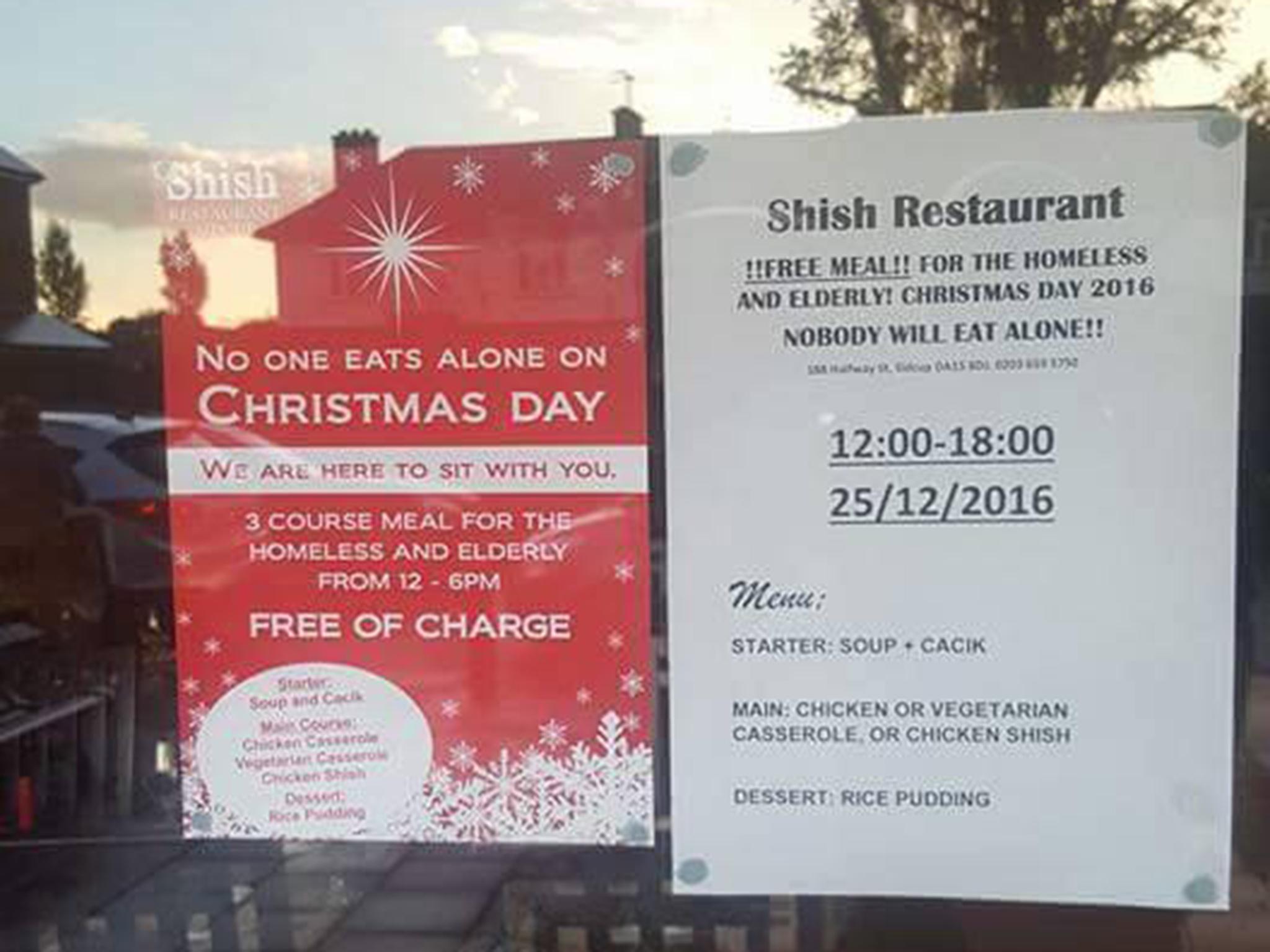 Christmas Restaurant Poster.Muslim Owned Restaurant Offers Elderly And Homeless Free