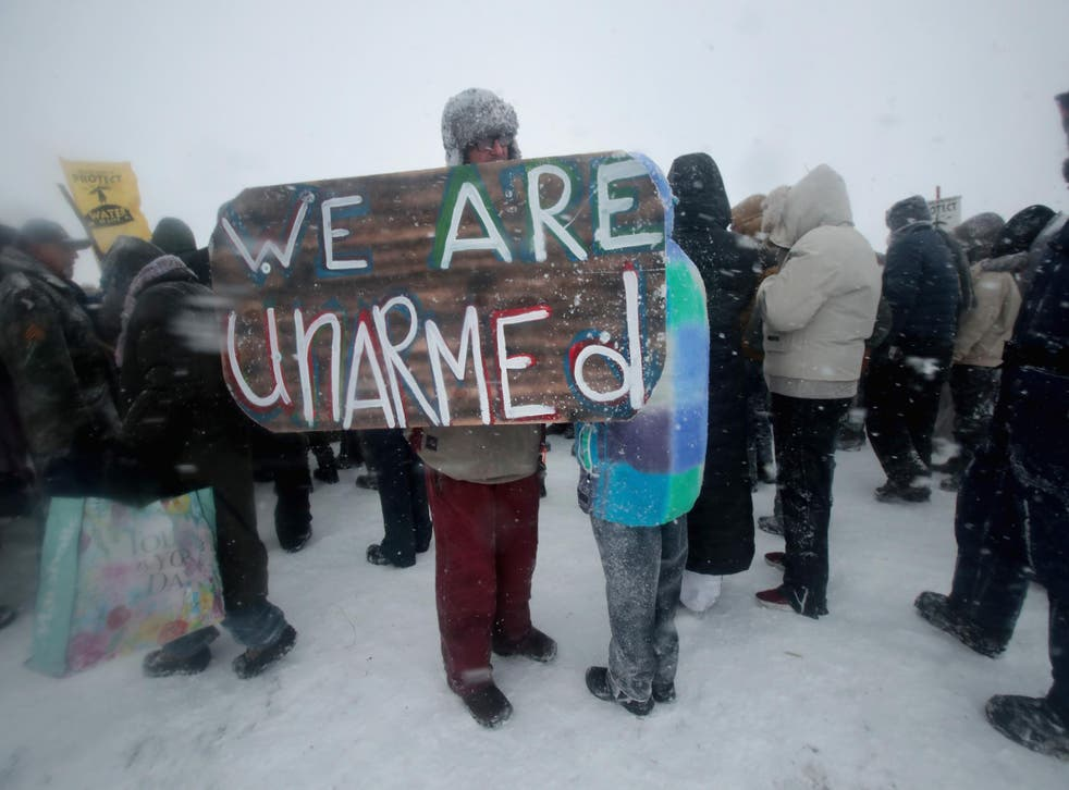 Protesters at the Standing Rock reservation