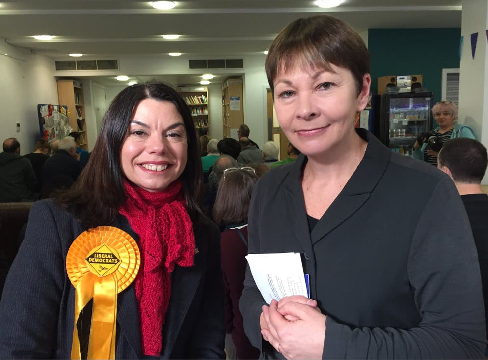 Green Party joint leader Caroline Lucas (right) backed the Liberal Democrats' Sarah Olney (left) in the Richmond Park by-election