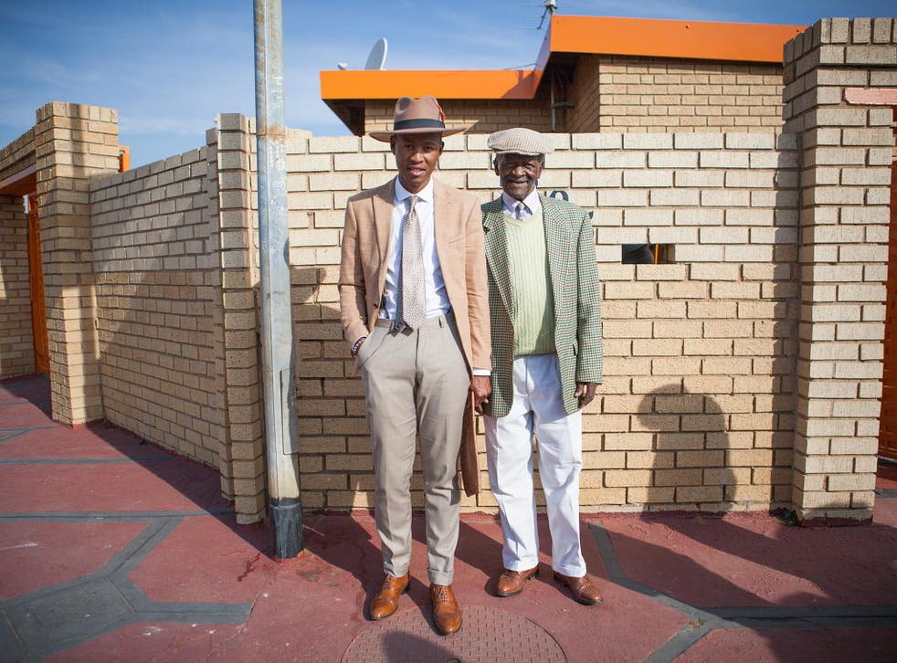 Brian Lehang, a South African dandy, poses in Johannesburg (pictured left) in a photo taken from the We Are Dandy book