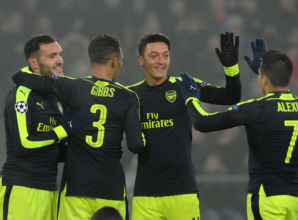 Ozil featured in Arsenal's 4-1 victory over Basle last night