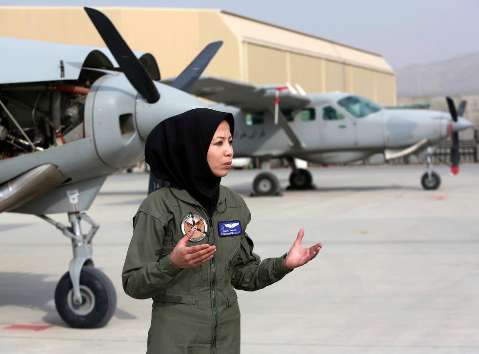 Captain Safia Ferozi, 26, at the Afghan military airbase in Kabul