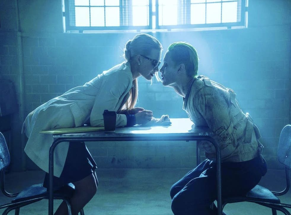 Margot Robbie and Jared Leto as Harley Quinn and The Joker in Suicide Squad.