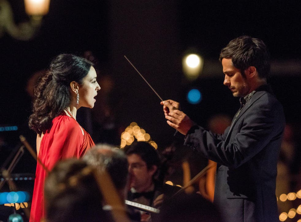Monica Belluci as opera diva Alessandra, with the orchestra's energetic new South American conductor, Rodrigo De Souza, played by Gael Garcia Bernal