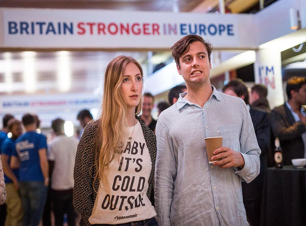 Supporters of the Stronger In campaign react as results of the EU referendum are announced at the Royal Festival Hall