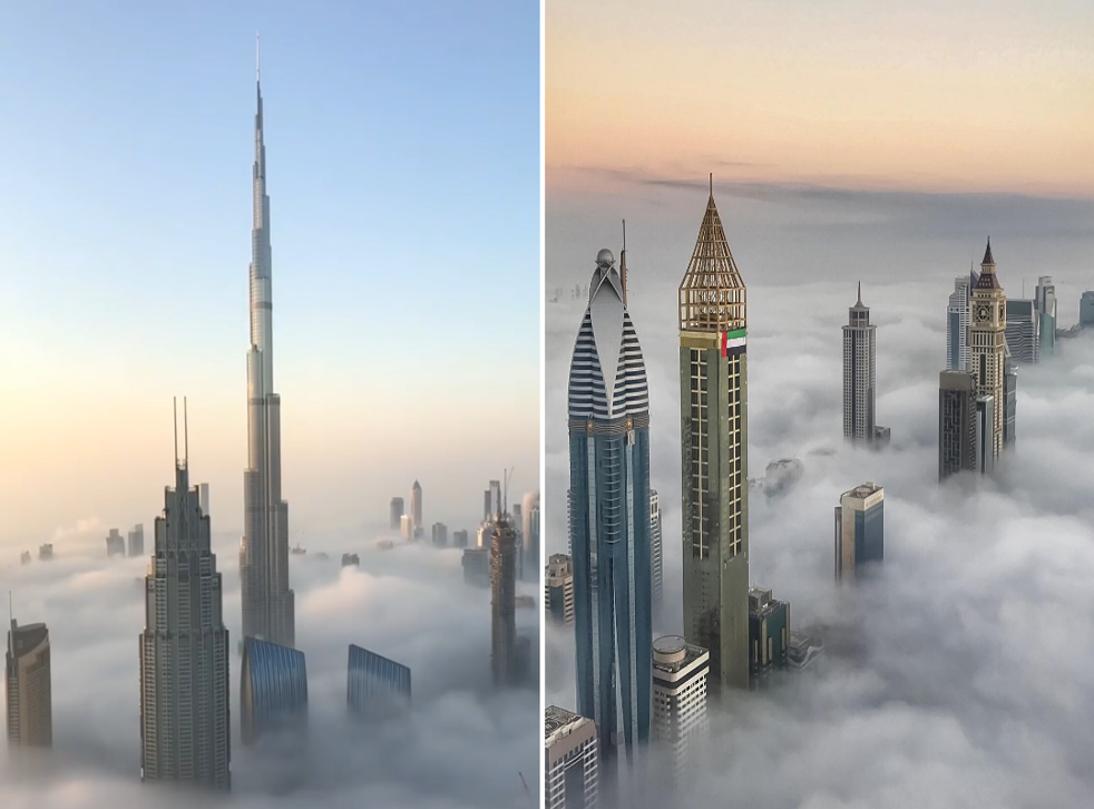 The Crown Prince of Dubai shared images of skyscrapers looming over a sea of fog