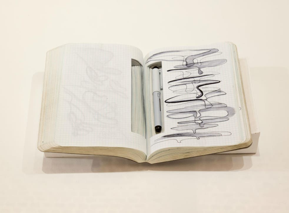 One of Zara Hadid's notebooks, exhibited at the Serpentine Gallery in Zara Hadid: Early Paintings and Drawings