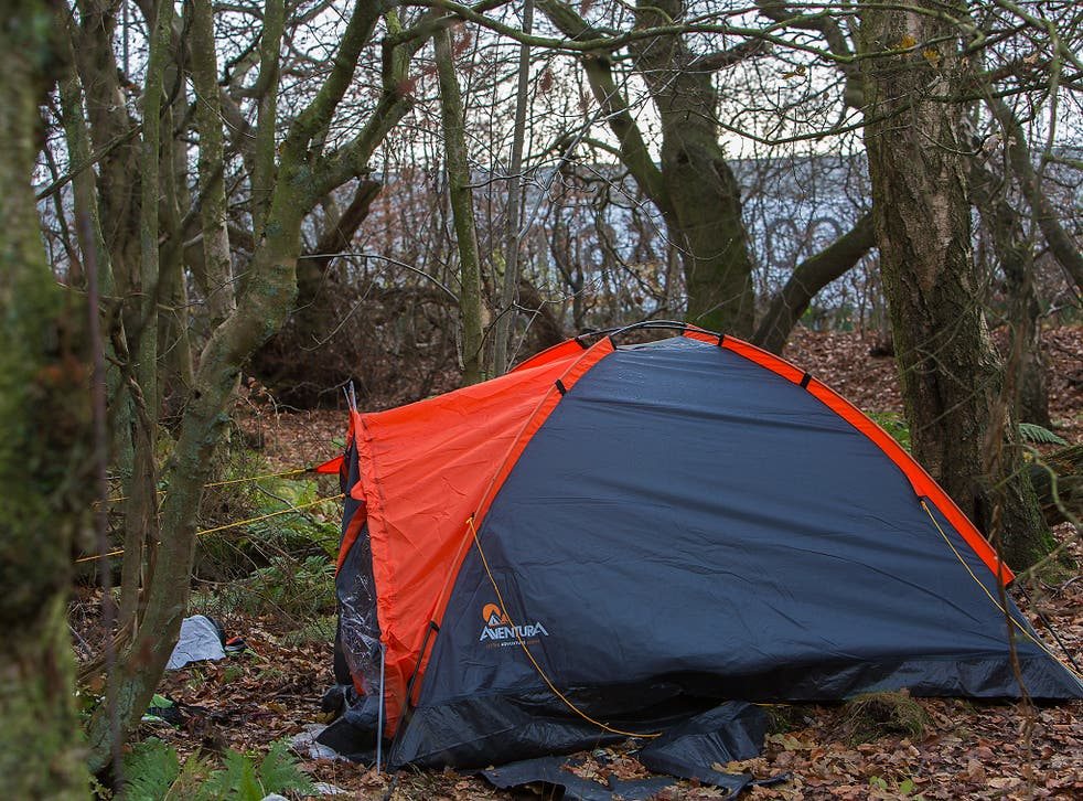 Tents pitched close to Amazon's fulfillment centre in Dunfermline, Fife, where employees report sleeping overnight so they can afford to make the journey to work