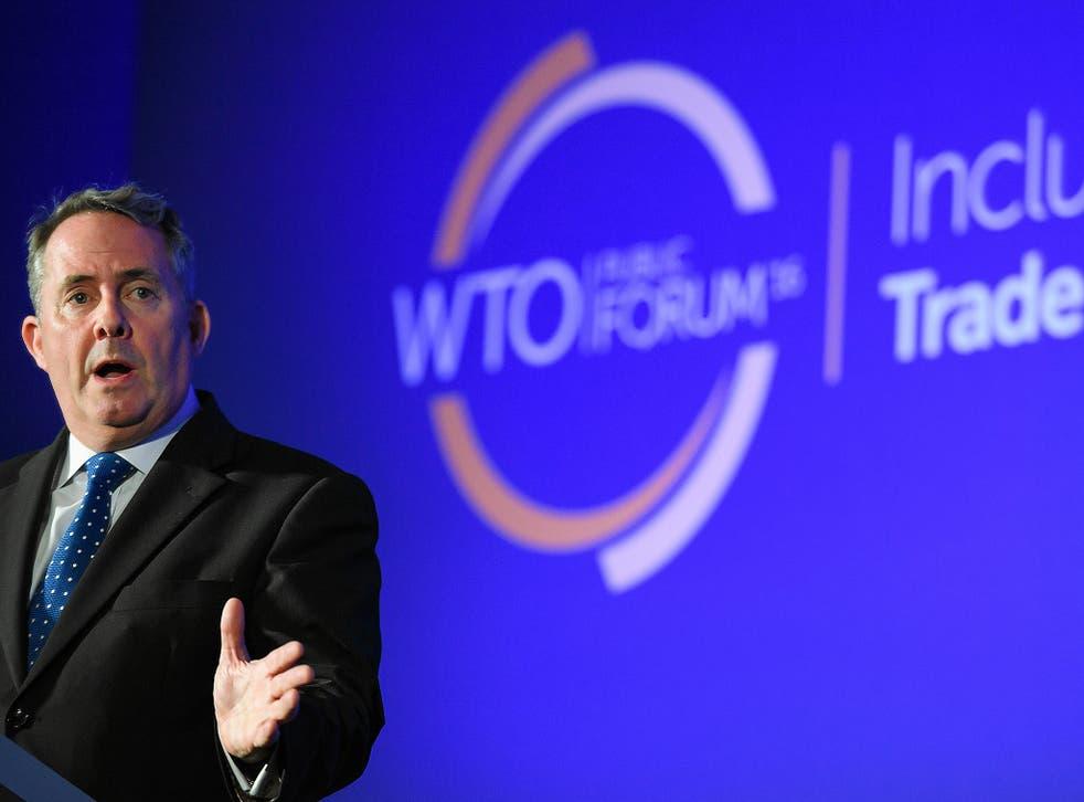International Trade Secretary Liam Fox at a World Trade Organisation public forum meeting in Geneva in September